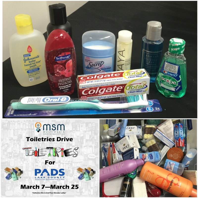 Toiletries Drive for Pads Lake County